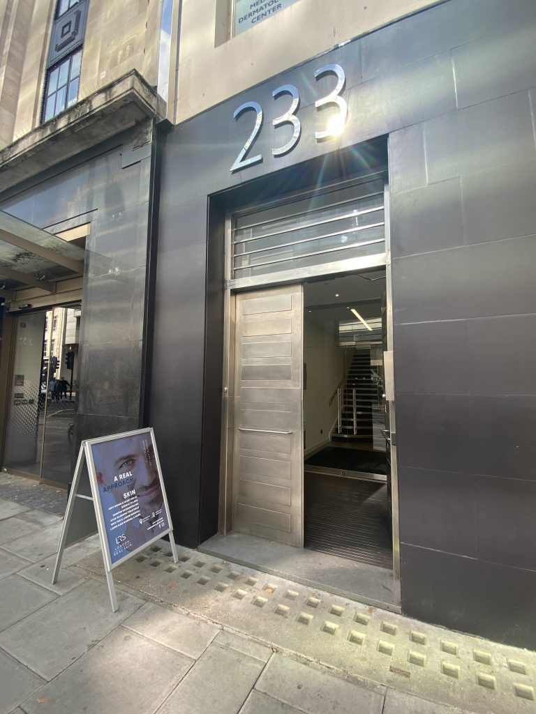 Outside view of London Real skin Clinic Holborn London